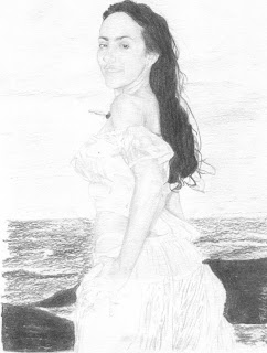 Mulher na praia - P&B