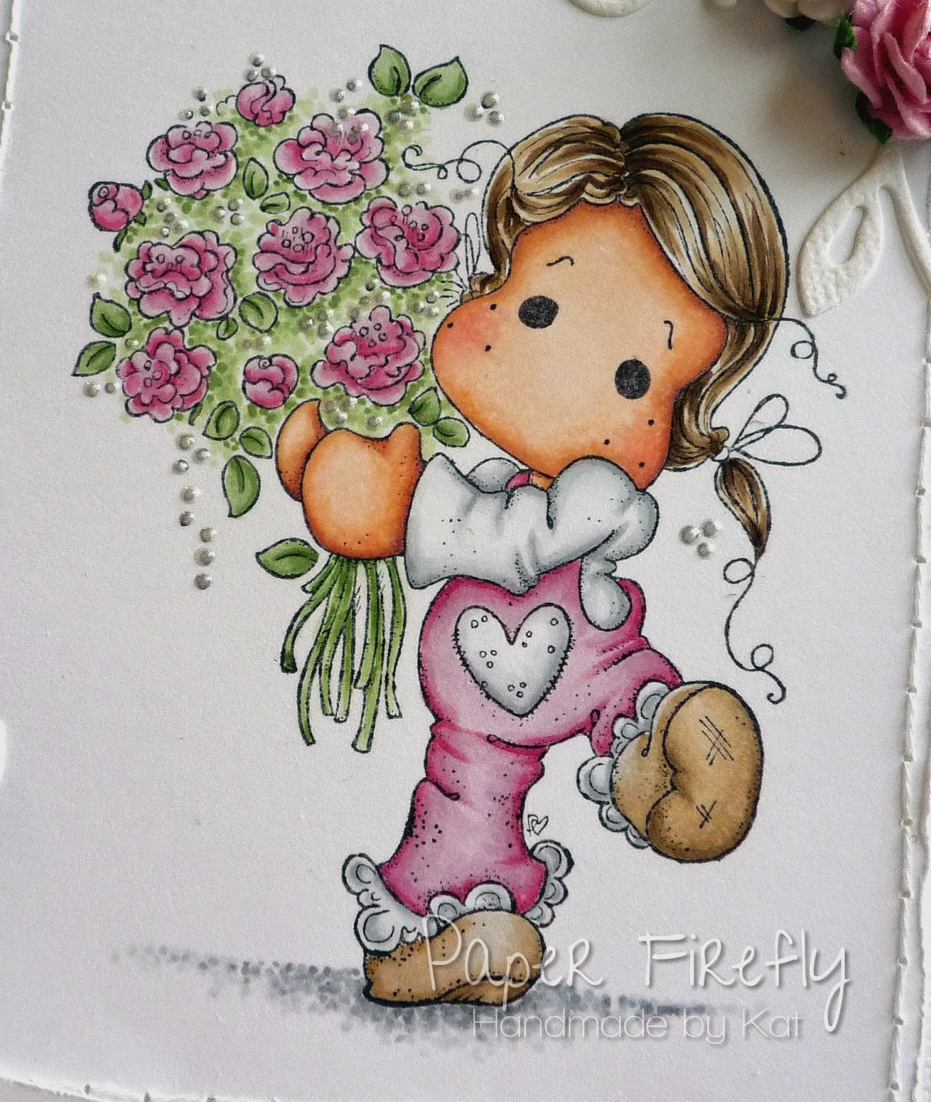 Tilda with flowers, from pink and girly card with pearl, flower and ribbon details