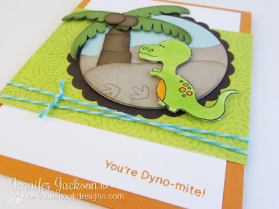 Dinosaur Card with punch art palm tree