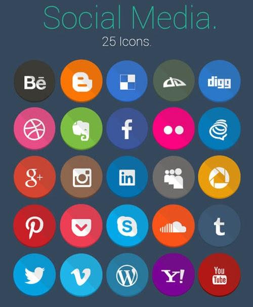 Geekly Flat social Media icons