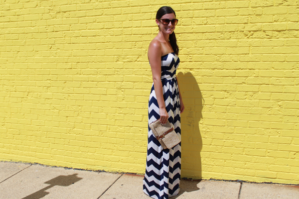 Windsor chevron maxi dress, Gap clutch, straw clutch, summer maxi dress