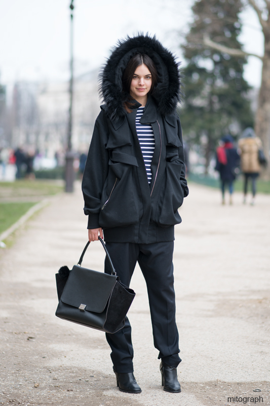 Agnès Bouille Before Acne Studios show Paris Fashion Week 2013 2014 Fall Winter PFW wearing Filippe Oliveira Batista coat Petit Bateau Kitsune jumper Anne Valerie hash Trousers Christophr lemaire Shoes Celine Bag