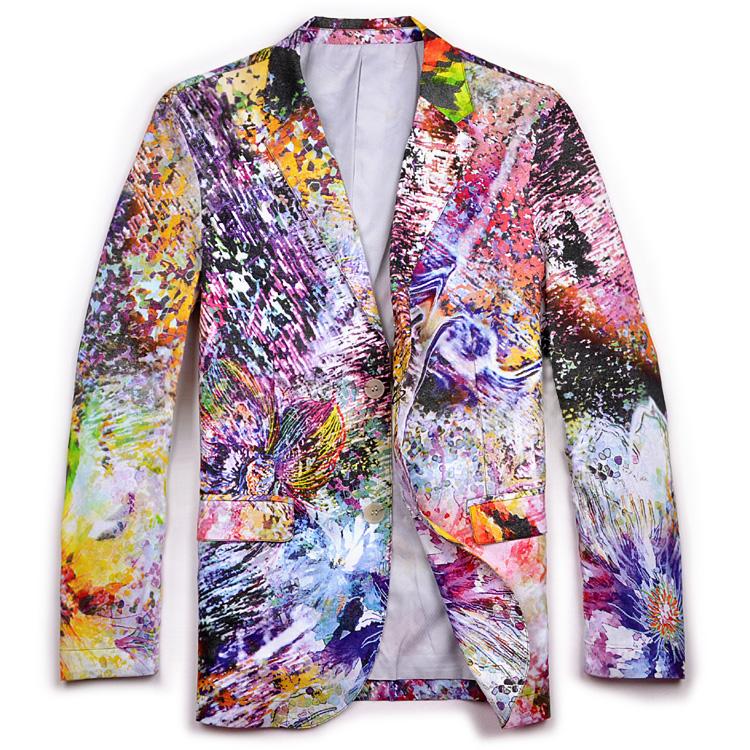 modern creative blazer for men - multicolor