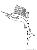 Sailfish Tropical Fish Kids Coloring Pages