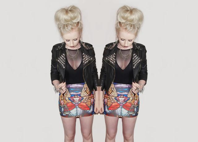 Sammi Jackson - Judas Biker Jacket / Romwe Cathedral Skirt