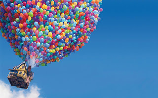 Up Flying House with Colorful Balloons