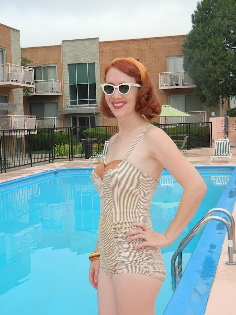 1940s 1950s bathing swimsuit suit playsuit Just Peachy, Darling
