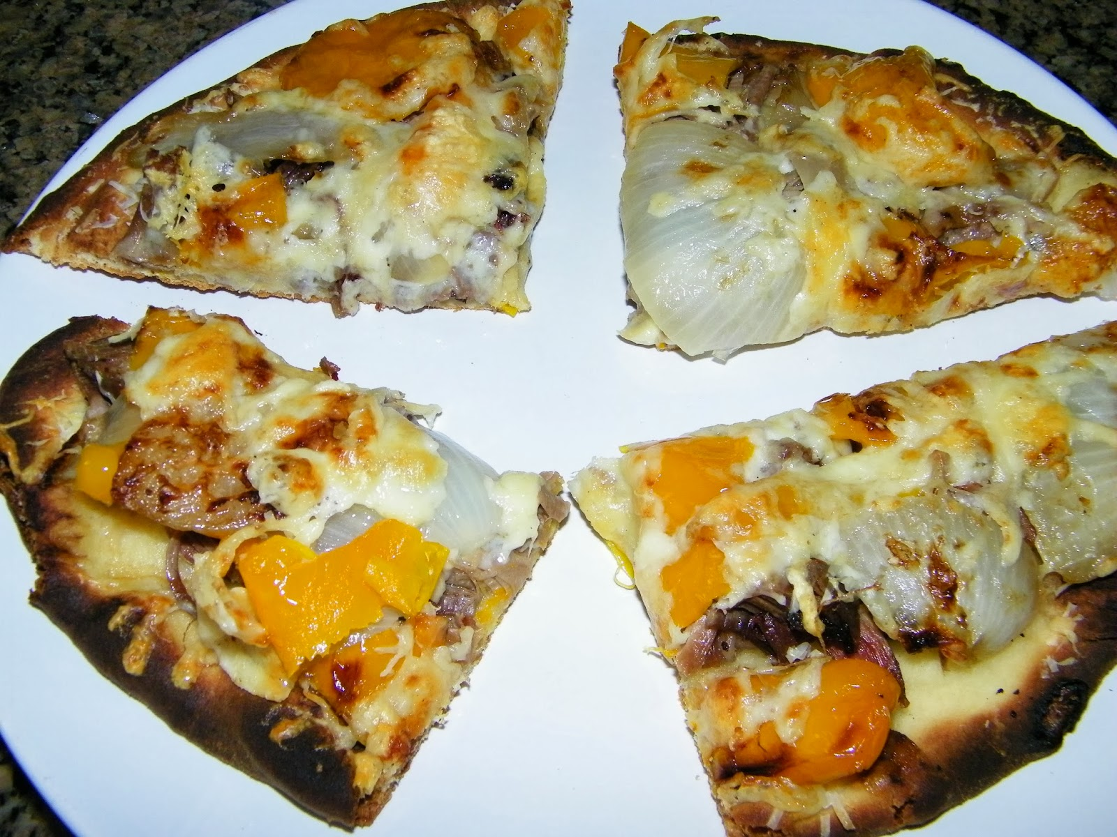 Sauceless Steak Onion and Pepper Naan Bread Pizza | theapron