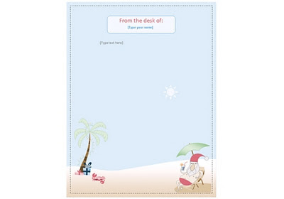 Summer Santa Letterhead Download from the Stationery Set created by Robert Aaron Wiley for Free Download from Microsoft Office Online
