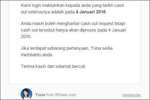 Tarikh cash out 8share minggu pertama dan minggu kedua bulan Januari 2016, cashout hasil 8share, daftar 8share, Yuna Says, bila duit 8share akan masuk, buat duit online