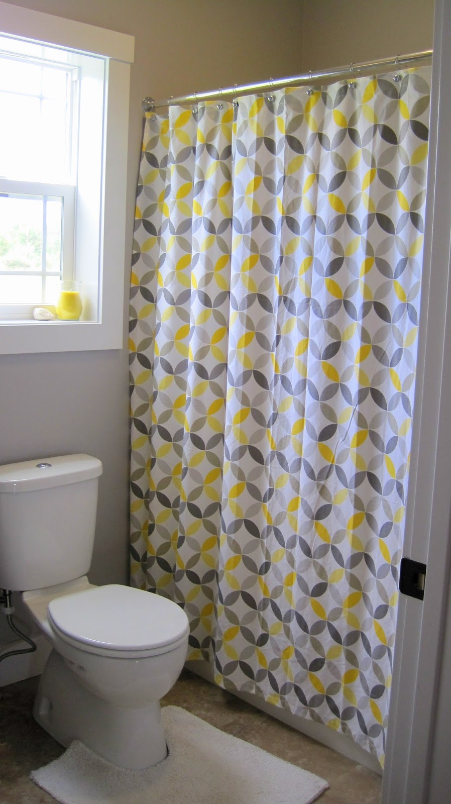 I Married a Tree Hugger: Cheery Yellow and Grey Bathroom