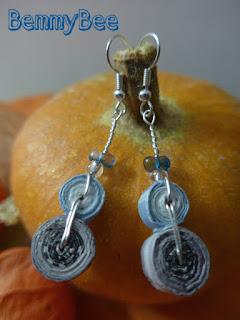 boucles d'oreilles perles de papier