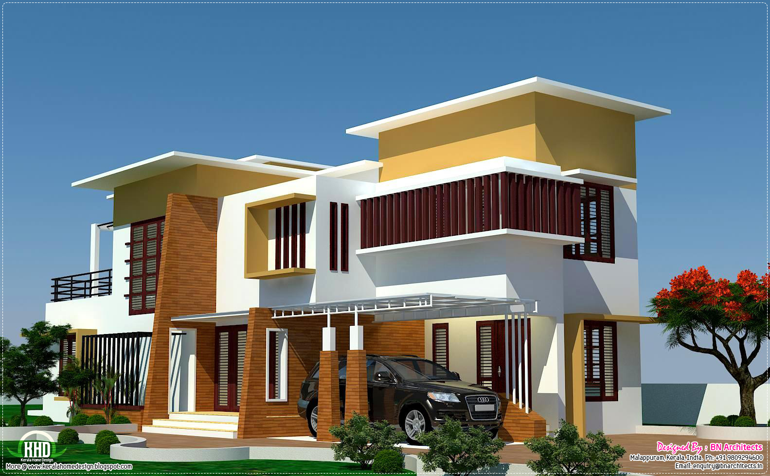 4 bedroom modern villa design kerala home design and for Kerala modern house designs