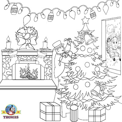 Free printable Thomas holiday tree Christmas pictures of kids clip art Xmas coloring book sheets