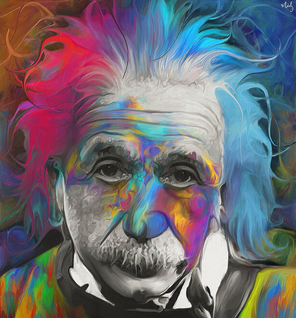 01-Albert-Einstein-Theory-of-Relativity-Nicky-Barkla-Psychedelic-Celebrity-Portrait-Paintings-www-designstack-co