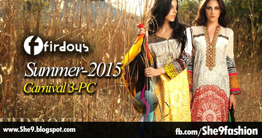 Firdous Embroidered Lawn in Carnival 3-PC