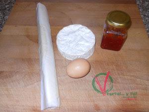 Ingredientes para el Hojaldre de camenbert y mermelada de tomate.