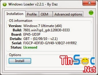 Windows Loader 2.2.1 - Công cụ crack windows 7 vĩnh viễn