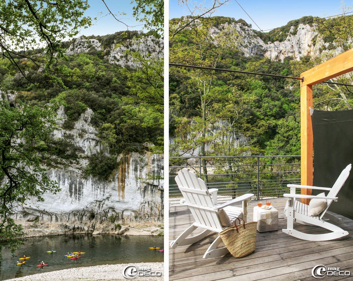 Vue de la terrasse du Lodge du Pont d'Arc sur l'Ardèche et la falaise