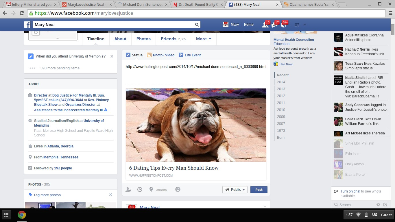 Justice Gagged: Facebook Stalkers Redirect Link Re Dunn's