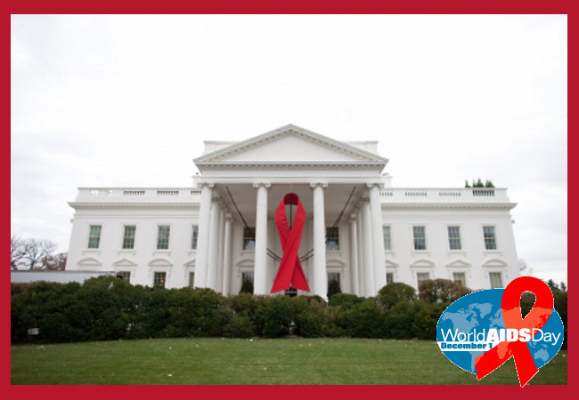 The White House hangs an Aids Ribbon commemorating World Aids Day 2010
