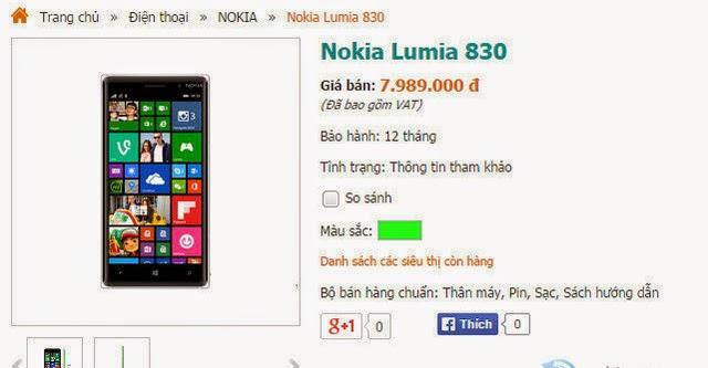 Lumia 830 đã bán ra tại Việt Nam