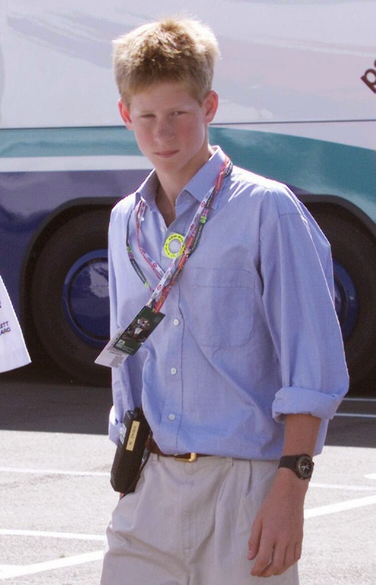 принц Гарри идет  окончания 50-ых гонок Гран-при Британской Формулы 1