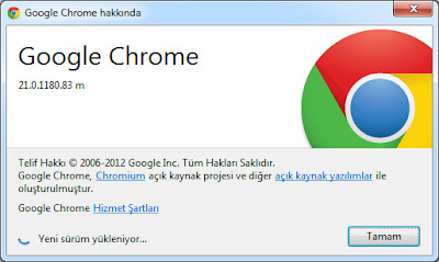 Google Chrome 21.0 Güncelleme