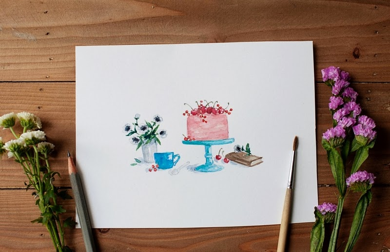 Morning Tea watercolor art by Dara Muscat