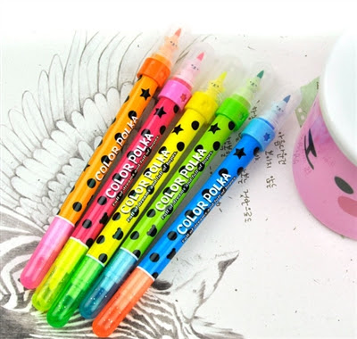 scented highlighter and polka-dot markers at CoolPencilCase.com