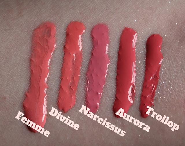 OCC Lip Tars L-R Femme, Divine, Narcissus, Aurora, Trollop