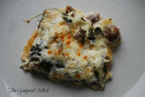 Turkey Sausage and Spinach Lasagna - The Gingered Whisk