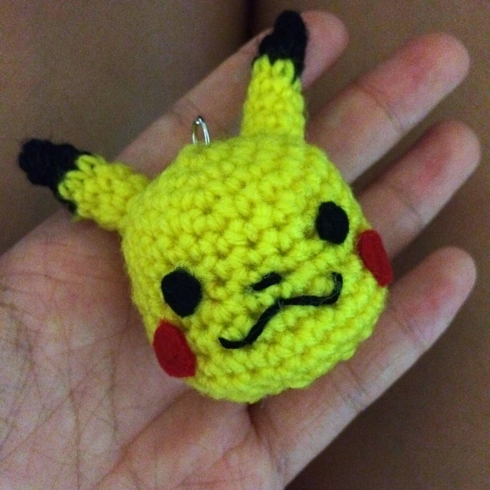 Drunk with Caffeine: My first amigurumi pattern! Pikachu head keychain.