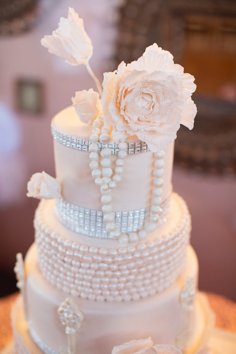 Angel Cakes Bakery Pearls Peonies Bling Wedding Cake