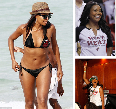 Actress Gabrielle Union supports the Miami Heat in the 2013 NBA