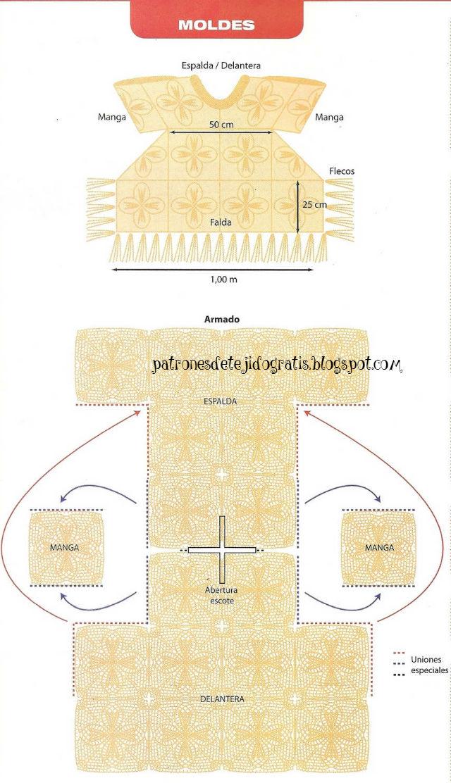 Patrones de túnica crochet tejida con cuadros talle xxl