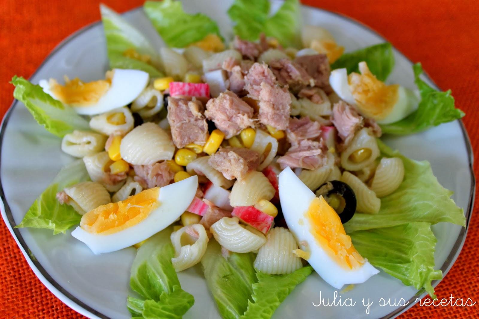 Julia y sus recetas ensalada de pasta con at n - Platos sanos para cenar ...