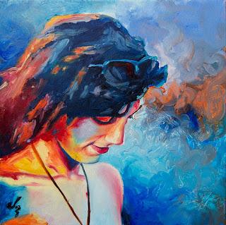 Retrato de chica a óleo con colores vivos