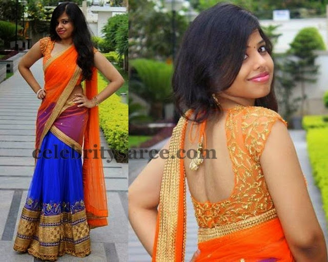 Blue Half Saree Net Blouse