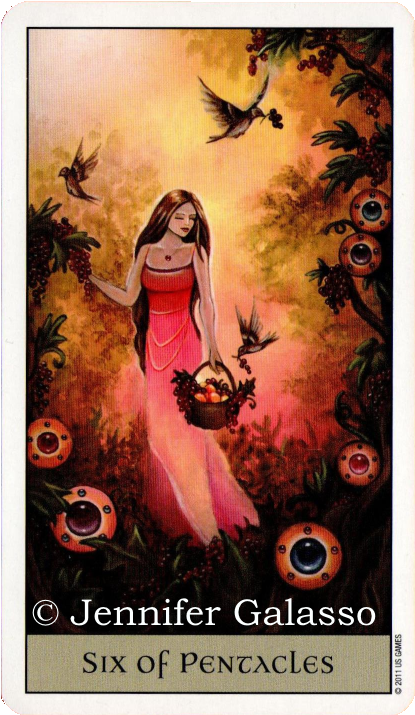 Crystal Visions Tarot, The six of Pentacles, Jennifer Galasso
