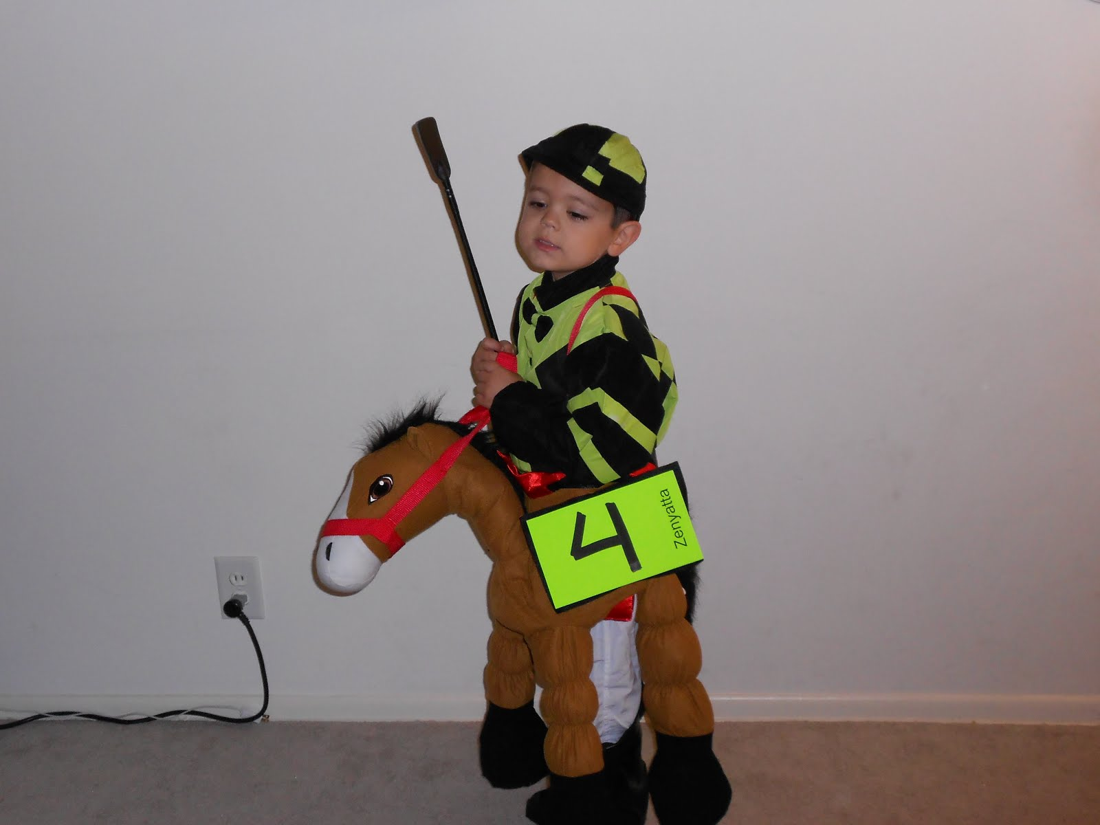 halloween costume contest jockey on horse