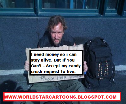 Wall Post - Videos And More: Funny Homeless Guy - Candy Crush Sign