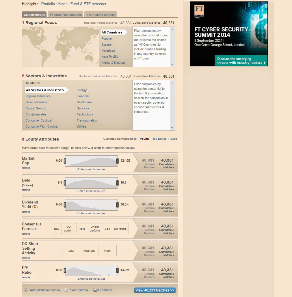 Financial Times Stock Screener