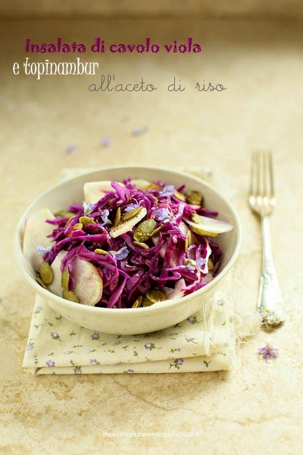 insalata di cavolo viola e topinambur all' aceto di riso