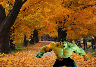 The Incredible Hulk Free Wallpapers Green Monster Fighting in Classic Autumn Trees Wallpaper