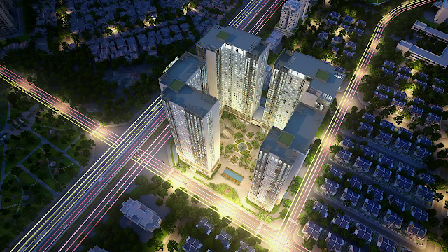 Phoi canh tong the du an chung cu Eco Green City Nguyen Xien