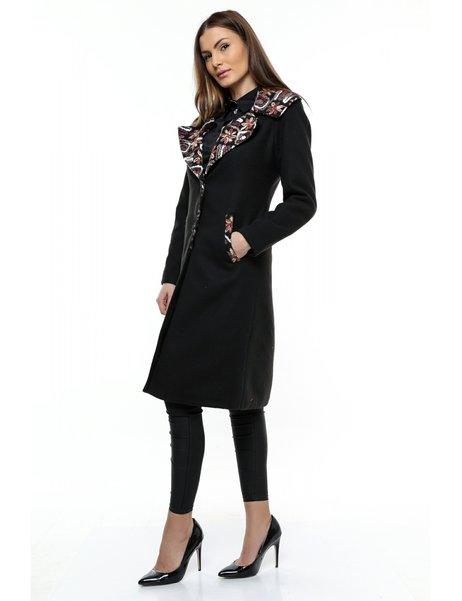Palton Lung Dama Negru