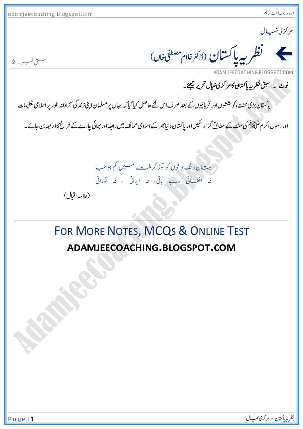 nazaria-pakistan-markazi-khayal-urdu-10th