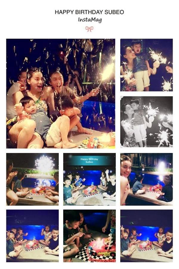 """Hình ảnh vô cùng hạnh phúc của Hà Hồ và Cường """"đô la"""" trong tiệc sinh nhật con trai. Rất đông bạn bè của Subeo cũng đến dự"""