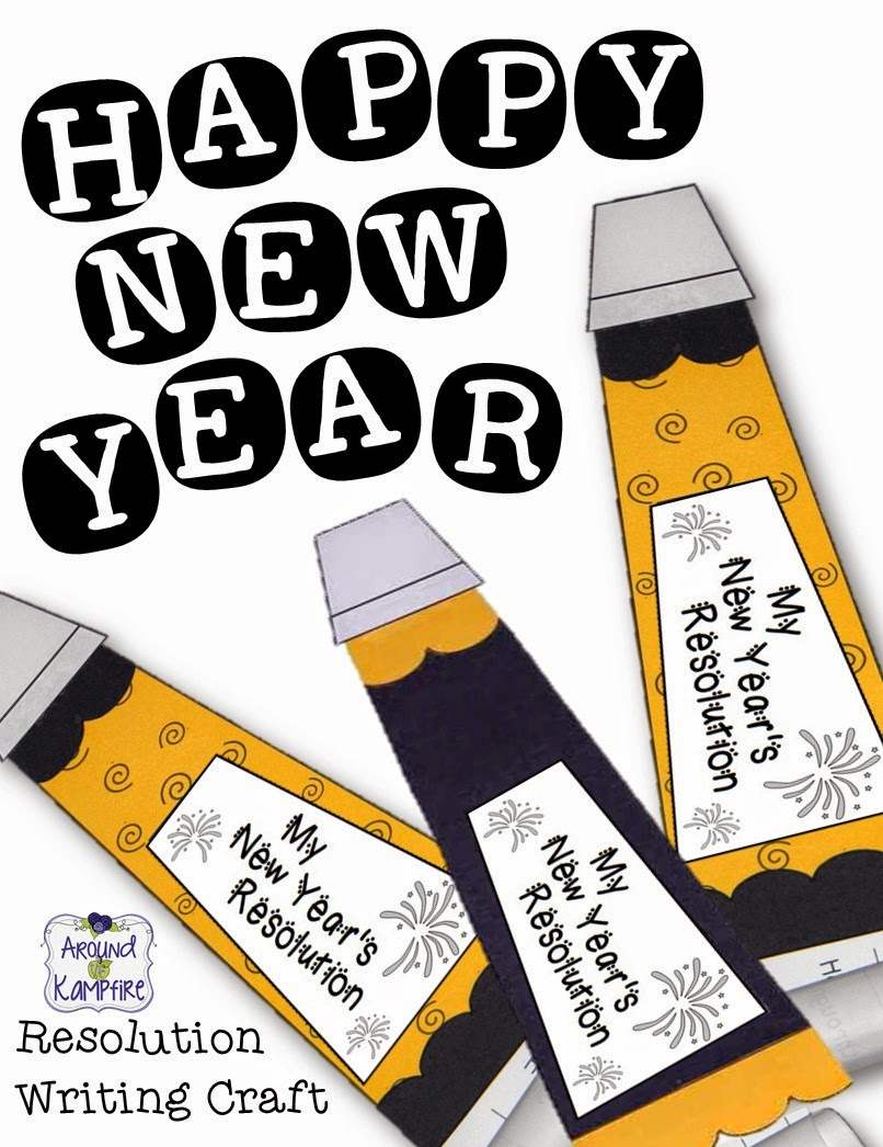 New Year's resolution writing craft with 5-day lesson plan, printable,  minilessons, and leveled reading passages.